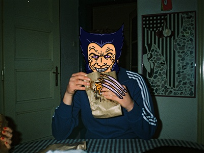 Wolverine eats whatever he wants to eat. fast food cheese x-men eating wolverine photograph analog illustrator photoshop greasy sandwich