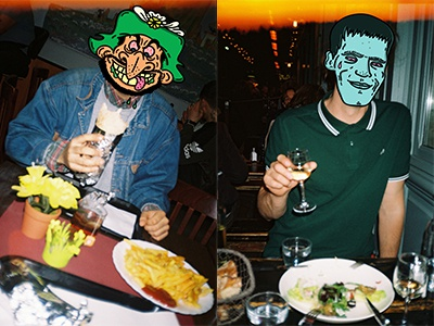 Two cities, two dinners. french fries addams family falafel salad iznogoud photography analog photoshop illustrator cartoon
