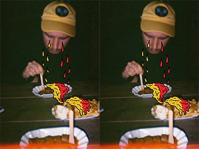 Cry me a dinner fast food hot dog collage colorful mustard ketchup analog photoshop illustrator illustration