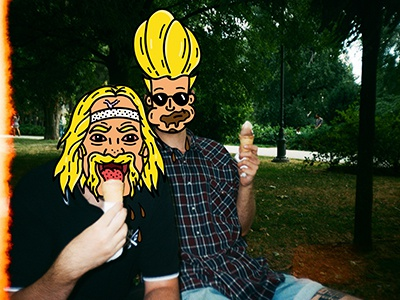 Summer Vibes with my Blondies photography ice-cream johnny bravo hulk hogan food photoshop illustrator summer collage illustration