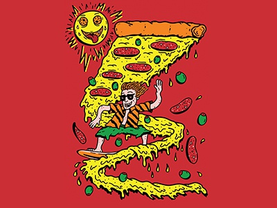 Illustration for Dobra Vila T-shirt tshirt design tshirt surfer photoshop illustrator branding pizza fast food illustration