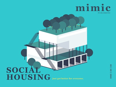 Social Housing green simple poly minimal illustration mimic future article