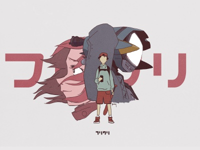 FLCL experiment typography fan art adult swim japanese poster anime flcl