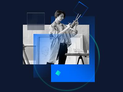 Composition 002 — Potter retouch green blue photo branding photoshop illustration minimal c4d render