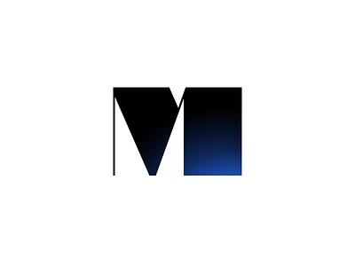 M for Movie ai ps black blue logotype simple kino cinema movie logo