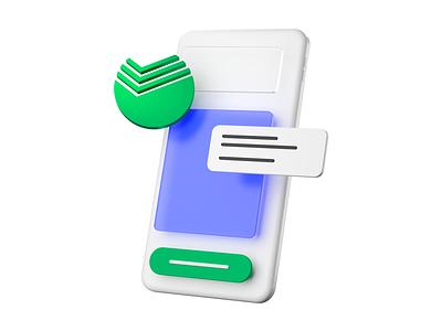 Yandex.Kassa — Sberbank 3d c4d yandex sberbank white popup phone kassa clean render minimal illustration