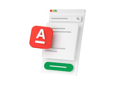 Yandex.Kassa — Alfabank yandex alfabank 3d render white minimal illustration c4d