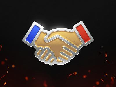 Enamel Achievement WWII Game «Support Veteran» enamel pin gold medal game render c4d cinema 4d hands glaze metall achievement enamel