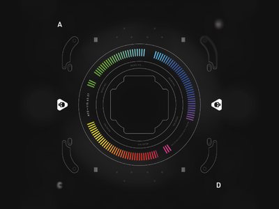 FUI Vector minimal design fui prototype skull caution holo rainbow information reading futuristic elements ui vector