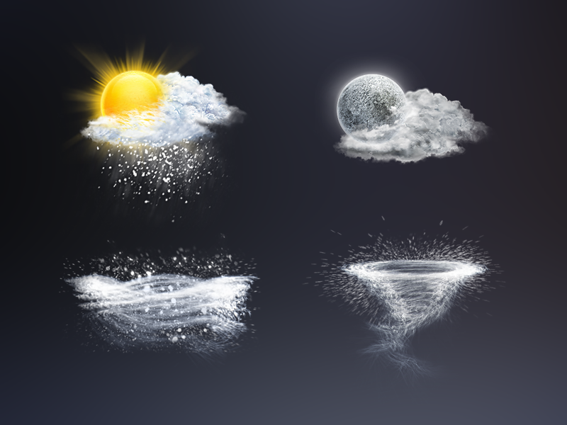 Weather icons weather icons sun moon tornado storm clouds realistic snow rain lighting cyclone