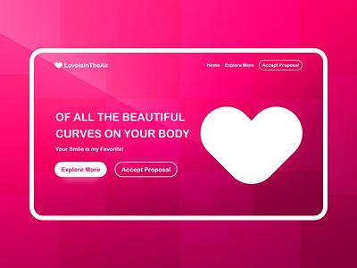 Valentines Day Love: Adobe XD Freebie web page website user interface web design landing page ux ui free freebie day valentines love