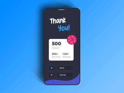 500 Followers Milestone! 🚀 flat web ios graphic gradients design dribbble thank you followers milestone ux ui