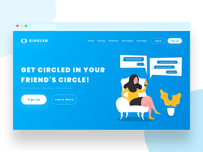 CIRCLED: Chat Solutions Landing Page 💬 ui ux solution app chat dribbble design gradients graphic ios web flat
