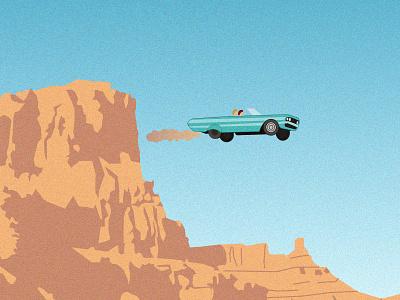 Thelma & Louise friendship crazy car run free movie film illustration