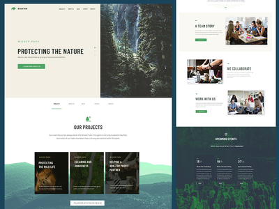 Wicker Natural Park website website simple mountains trees brown green light theme web