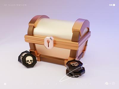 Treasure Chest Design illustration design blender3d