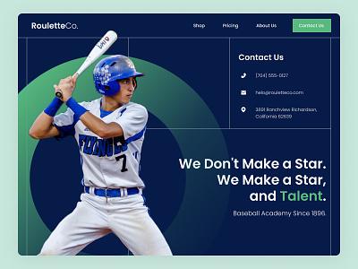 Baseball Academy Web Exploration contact us hero section landing page baseball branding design web design ux dailyui ui uiux ui design