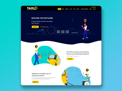 Geelong Taxi Network web design illustrations logo branding website