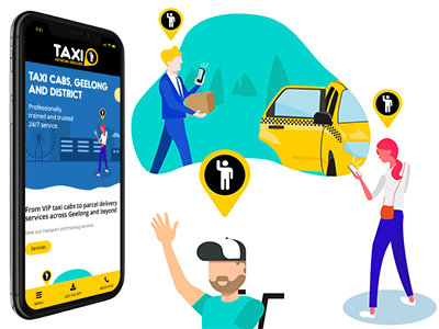 Illustrations for Geelong Taxi Network animation character svg illustration