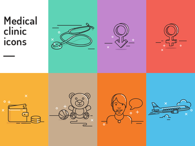 Medical Clinic Icons mono line vector simple medicine medical graphics icons