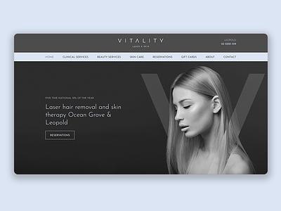 Vitality Website beauty spa beauty clinic homepage simple model luxury elegant dark clean design website minimal