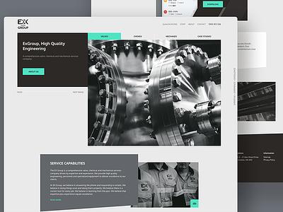 Engineering website dark web homepage bold strong black and white industrial website