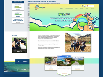 Sight seeing tours colorful playful fun kangaroo tours ui website
