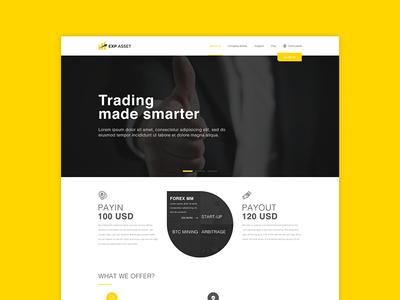 EXP ASSET web designer trading ui website web design