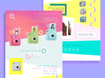 Product landing page pop art product page landing page photo instax yello blue purple