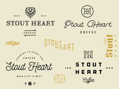 Stout Heart 06 courage s h logo branding bold brave coffee heart stout