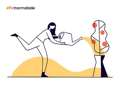 Marmalade Watering Tree procreate illustration