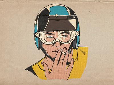 Vintage Motocross Dude procreate illustration