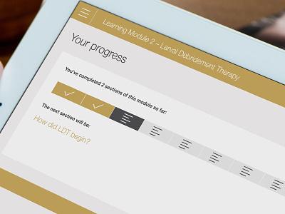 eLearning Progress Screen elearning website web ui ux rwd moodle captivate