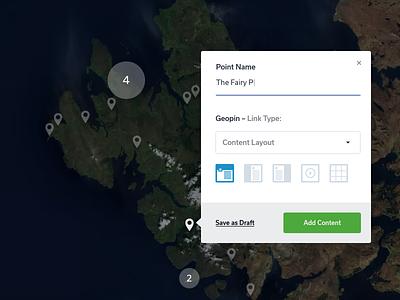 Add a New Point skye geopin location app map ux ui web