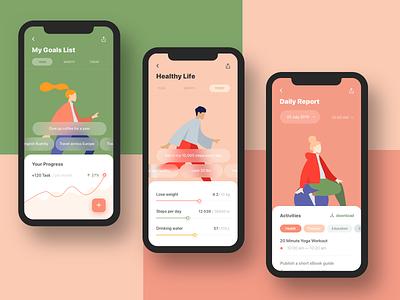 Goals & Habits Tracking App — Design Concept user interface design activities progress habits tracking app goals application clear bright colors illustration design ui app design app