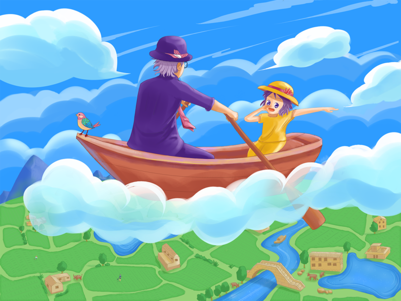 Boating in the sky illustration