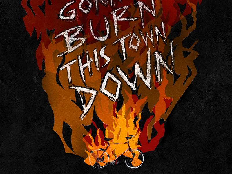 Lyric poster grunge bike fire lettering paper illustration poster