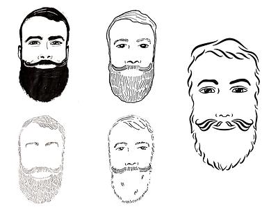 Bearded Lawyer line art mustache man icon pen  ink illustrator bw beard illustration line art