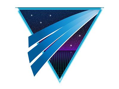Cybertail dock icon grid starfield gradient 80s retro logo mac app dock icon