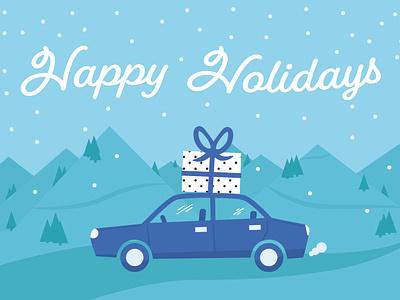Mighty Ai Holiday Postcard car holiday card illustration postcard