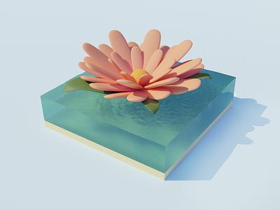 🌸Water flower 3D design minimal art digital illustraion 3d modeling 3d art 3d