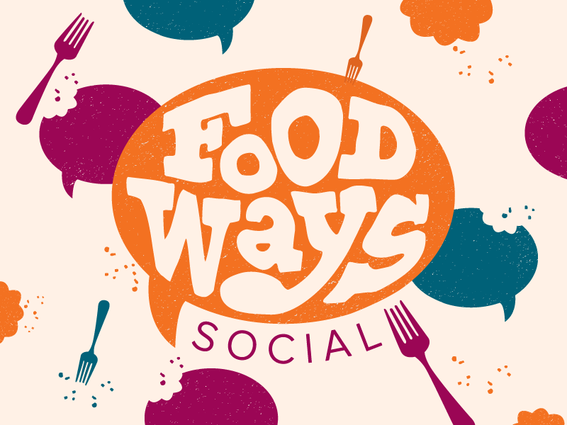 Foodways Social crumbs fork speech bubble eat gathering food social