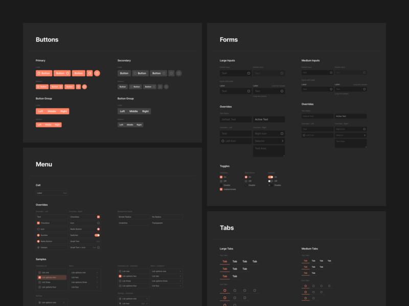 Sections 2.1 – Dark Version uielements themesetup themes components styleguide design system adobexd design webdesign web mobile figma prototyping wireframe ux ui uikit sketch