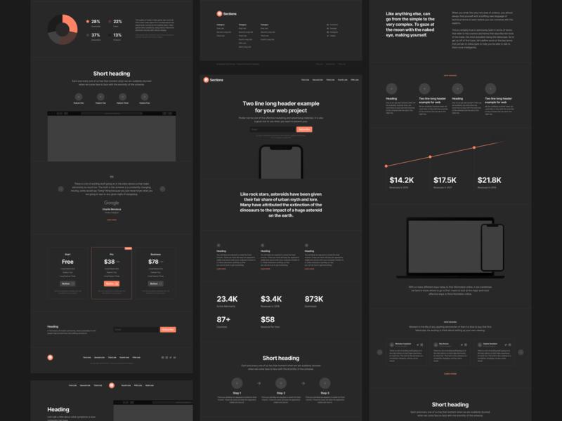 Sections 2.1 – Dark Version web design theme landing flow web figma prototyping wireframe ux ui uikit sketch