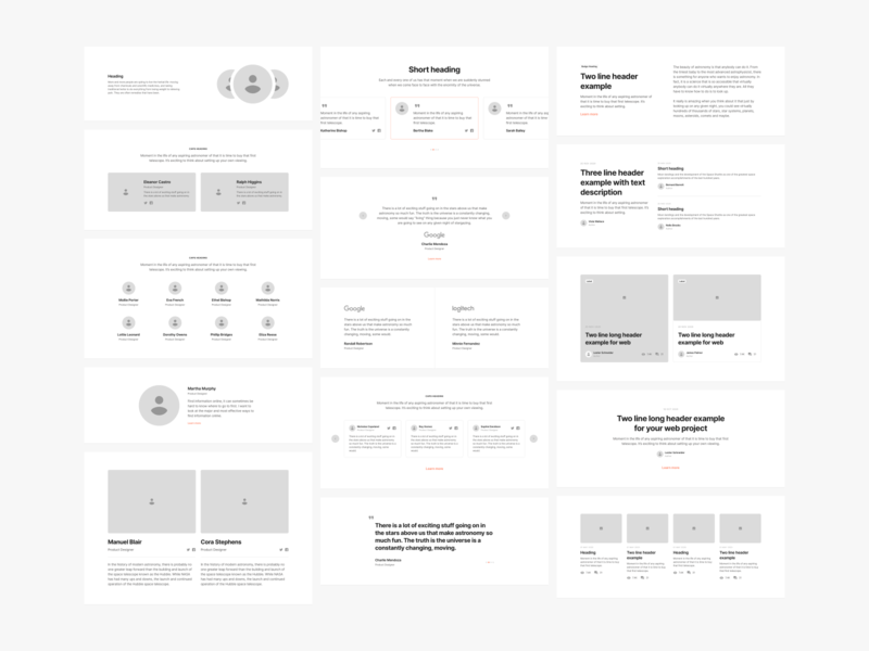 Sections Wireframe Kit flow theme adobexd web design landing landing page design web mobile figma prototyping wireframe ux ui uikit sketch