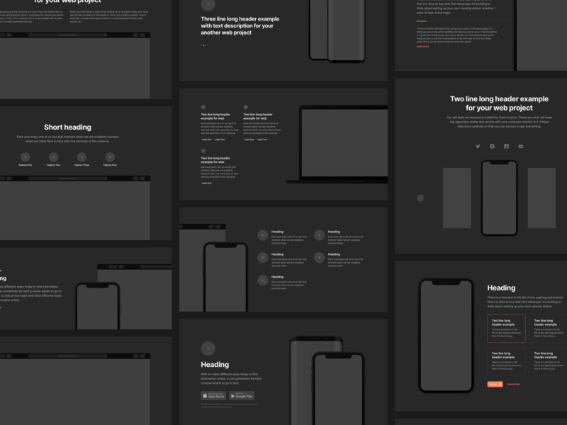 Sections Wireframe Kit iphone devices mockups landingpage landing themeforest template web design webdesign theme app web mobile figma prototyping wireframe ux ui uikit sketch