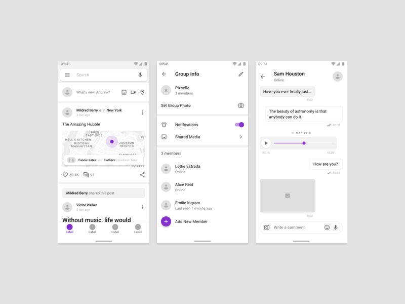 Fragments Wireframe Kit social template android ios material materialdesign design mobile figma prototyping wireframe ux ui uikit sketch