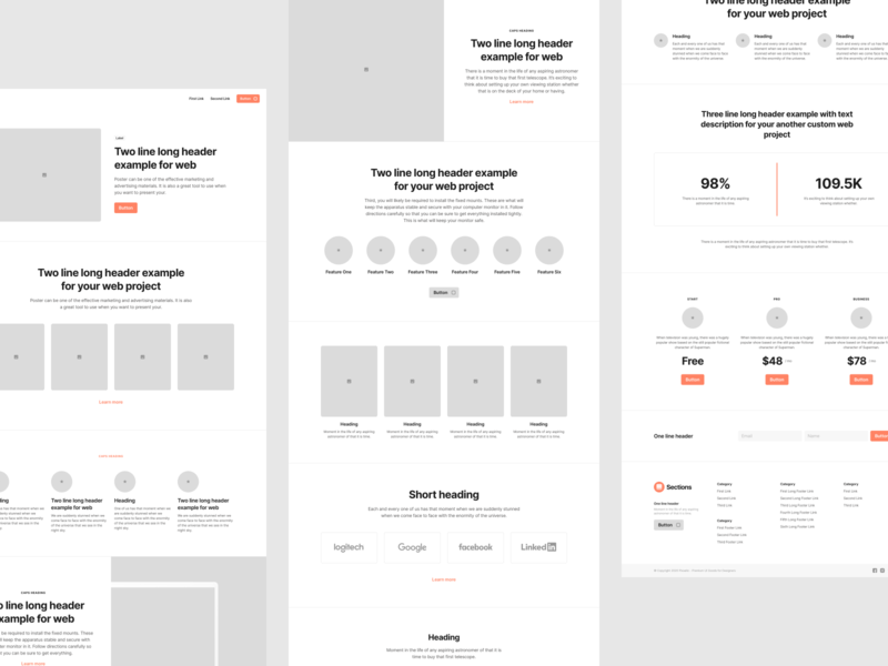 Sections Wireframe Kit designsystem webdesign landing template design web flow figma prototyping wireframe ux ui uikit sketch
