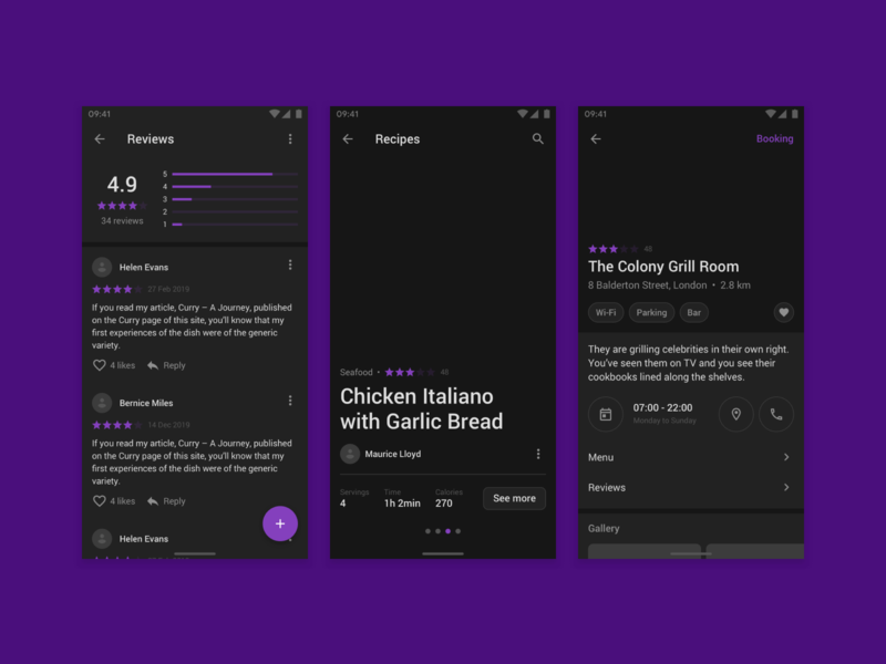 Fragments Android dark material materialdesign flow mobile android app web figma prototyping wireframe ux ui uikit sketch