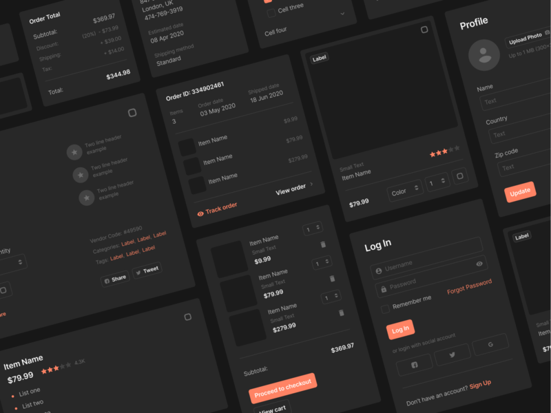 Sections Ecommerce Wireframe Kit dark cart shopping shop ecommerce design web design web figma prototyping ux ui wireframe uikit sketch